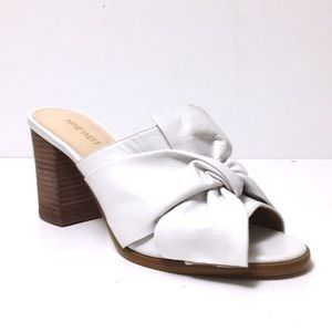 Nine West block heels white sandals sz 8 NWOB